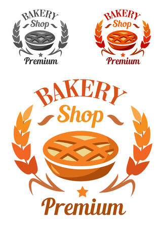 freshly baked: Premium bakery shop emblem or badge with a freshly baked pie enclosed in a laurel wreath with the text in three color variants, vector illustration on white Illustration