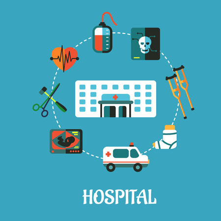 Hospital flat inforgraphic design or poster with a hospital building surrounded by an ambulance, x-ray, surgical instruments, cardograph, blood transfusion, skull, crutches and plaster caste Vector