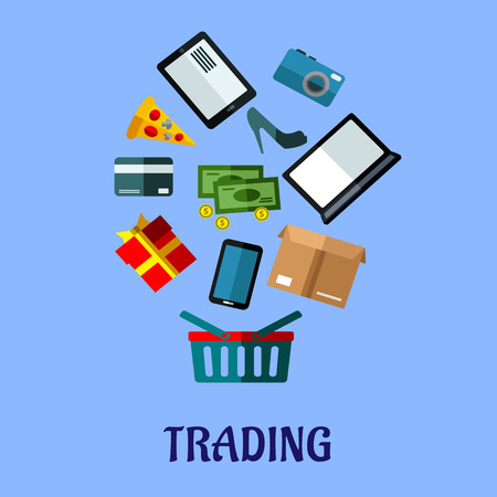 gift basket: Trading flat vector poster design with a shopping basket below icons for a mobile, tablet and laptop, cash, bank card, gift, cardboard carton with a shoe, fashion, camera, electronics, pizza for food Illustration