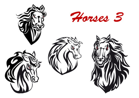 Black and white cartoon horse characters head icons with flowing manes, two facing the viewer and two turning to the side, for tattoo, mascot or equestrian sports design. Vector illustration