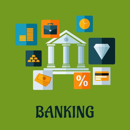 lingot or: Bancaires design plat ou infographie avec un b�timent de la banque centrale entour�e d'ic�nes indiquant argent, lingots d'or, porte-documents, horloge, diamant, mati�res premi�res, investissements, carte de cr�dit et le pourcentage de taux