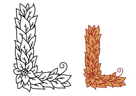 Leaf design uppercase letter L with a single flower for eco, bio or organic concepts in a black and white outline and brown variant, vector illustration on white Ilustração