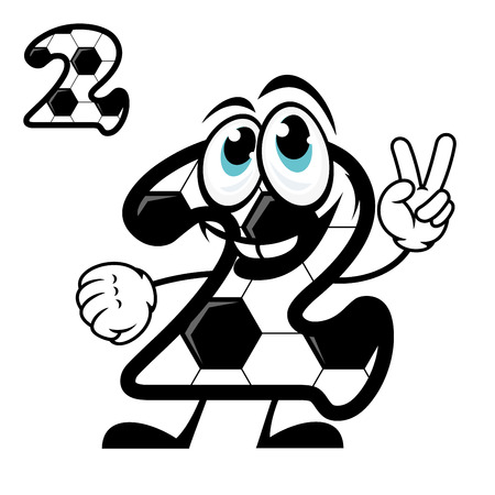 Cute number 2 cartoon character with a black and white hexagonal soccer pattern waving a v-sign at the camera with a happy smile, vector illustration on white Vector