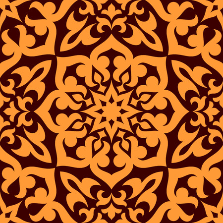 Bold geometric muslim seamless pattern with a single large repeat orange motif in square format suitable for wallpaper or fabric design Vector
