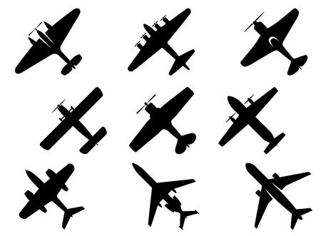 fixed wing aircraft: Black vector aircraft silhouette icons showing a range of fixed wing and commercial airplanes from below