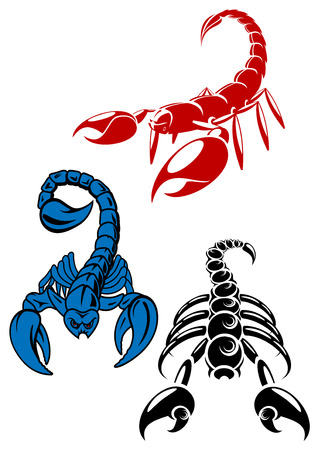 Colored danger and aggressive scorpion icons showing the scorpion in different positions with the sting in its tail raised, for tattoo design Vector