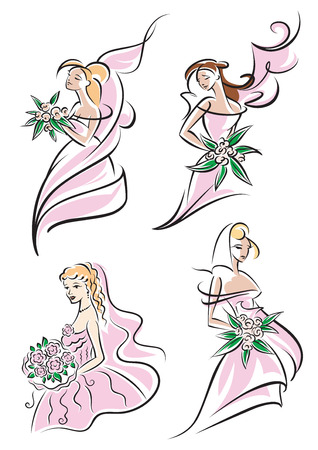 bridal bouquet: Beautufil brides holding bridal bouquets wearing elegant pink veil, vector sketch,  illustration on white Illustration