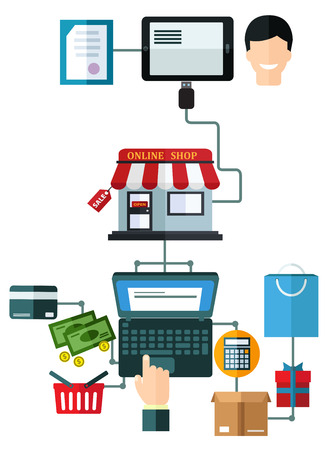 dispatch: Online shopping flat concept with a man making a purchase on a laptop making payment, packaging as a gift and dispatch from a certified secure online store with customer services
