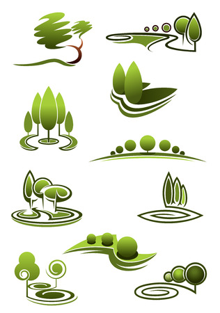 rows: Green trees in landscapes icons with stylized rows or stands of trees in swirling scenery, vector illustration on white Illustration