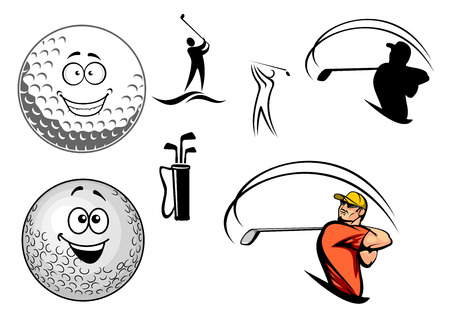 golf cap: Set of golfing icons with various golfers swinging at the ball, a bag of clubs and two happy smiling golf balls, cartoon vector illustration on white