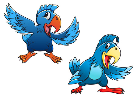 macaw parrot: Cute blue cartoon parrot birds characters with curved beaks and different wing positions, vector illustration on white
