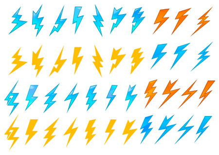 Colorful lightning bolts or electrical icons showing various zigzag patterns in red, orange and blue, vector illustration on white