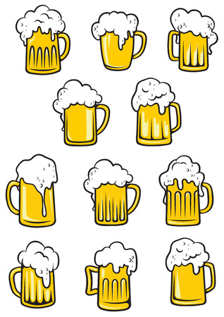 Vector tankards of beer with frothy heads overflowing the glass in different shapes, vector illustration on white