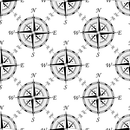Vintage compass seamless background pattern showing the compass points, for travel or vintage design Vector