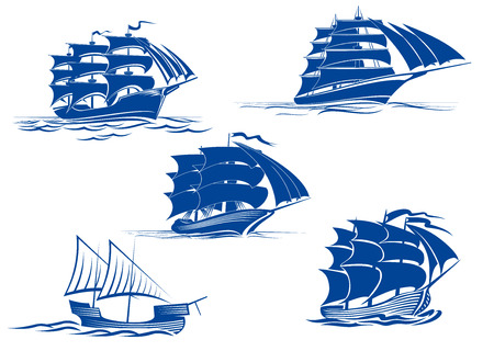 tall ship: Ancient and medieval sailing ships in blue silhouette showing various tall ships with two or three masts, vector illustration Illustration