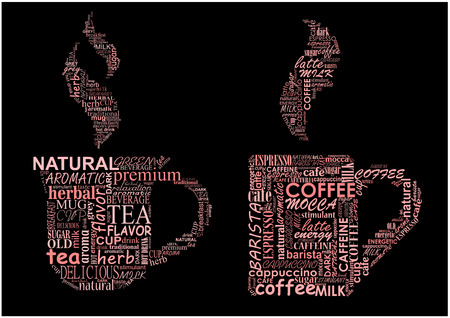 Cups of hot steaming coffee and tea formed from text clouds with assorted words pertaining to each beverage over a dark background Vector