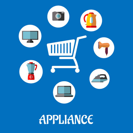 percolator: Flat household appliances icons with a vector silhouette of a shopping cart and a kettle, coffee percolator, television, camera, hairdryer, laptop and iron Illustration