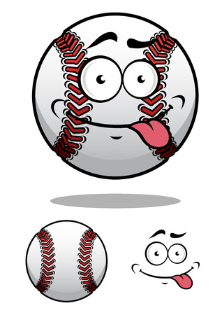 Cartoon baseball ball with a cheeky grin and protruding tongue with a second plain variant, vector illustration on white Illustration