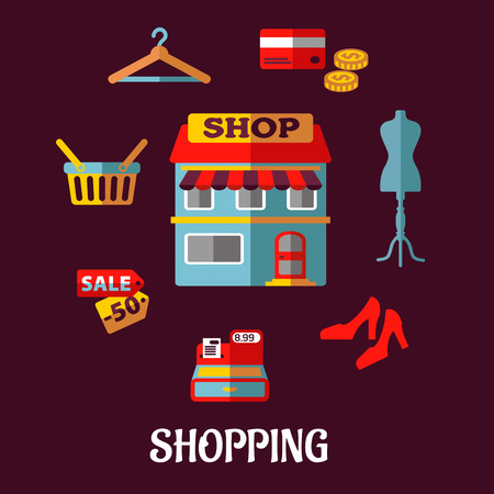 beauty shop: Flat shopping design elements with a central store front surrounded by a till, sale price, basket, hanger, credit card, cash, mannequin and shoes, vector illustration