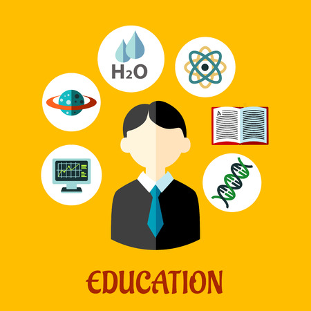 sciences: Education flat infographics template with a student surrounded by circular icons for genetics, DNA, atom, physics, water, sciences,  astronomy, computer for e-learning