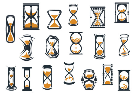 sand timer: Egg timers and hourglasses in brown and black in various shapes showing sand running through measuring passing time, vector illustration on white
