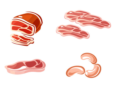 butchery: Colored meat icons showing a leg pf pork, cutlet, bacon slices and sausages. Vector illustration isolated on white Illustration