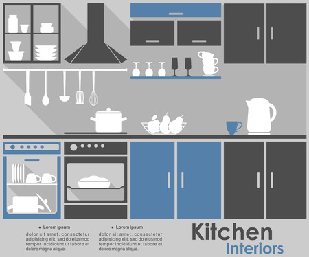 kitchen counter: Kitchen Interior design template showing a fitted kitchen with appliances, kitchenware and crockery in grey, white and blue with space for text. For infographic design