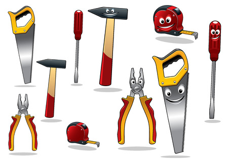 mending: Set of DIY cartoon tools with a tape, pliers, hammer, saw and screwdriver with smiling faces, vector illustration isolated on white