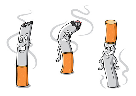 cigarette smoke: Cute cartoon cigarettes characters with different expressions and wisps of smoke, vector illustration isolated on white Illustration
