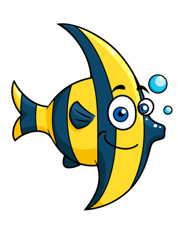 Smiling cartoon striped tropical fish with blue and yellow stripes swimming underwater with bubbles, vector illustration isolated on white Vector