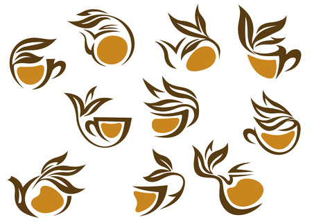 entwined: Organic herbal tea icons in brown and white vector doodle sketches of cup and pots of beverage entwined with fresh leaves