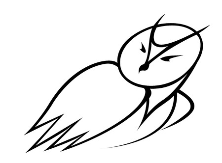 over the shoulder: Black and white outline doodle sketch of a cartoon owl looking back over its shoulder