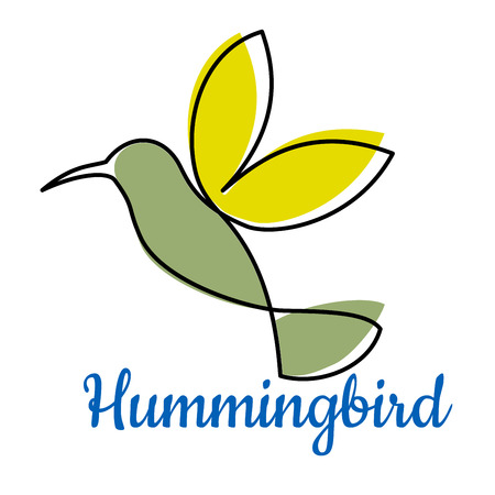 bird logo: Abstract outline hummingbird symbol or logo in yellow and green colours