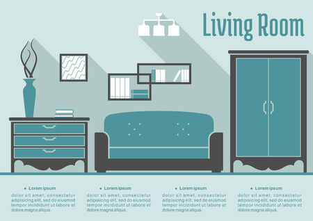 Retro flat living room interior with furniture and decor for infographic design Vector