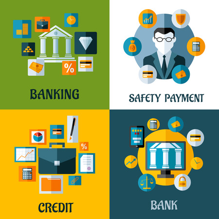 Set of banking and financial vector illustrations with a central bank, businessman, briefcase or computer surrounded by various financial icons depicting safe investments, banking and online security Vector