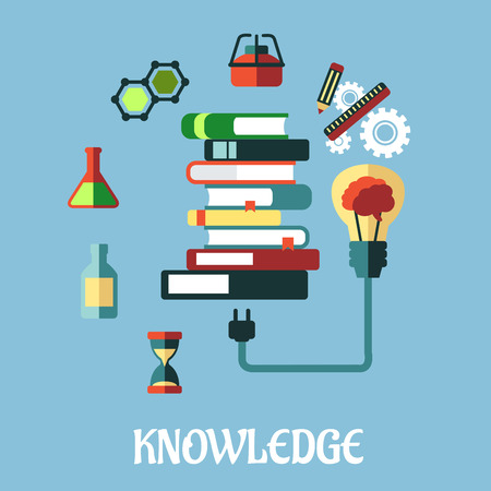 plugged: Knowledge and web education flat design with a light bulb plugged into a tall stack of books surrounded by various scientific and media icons on a blue background Illustration