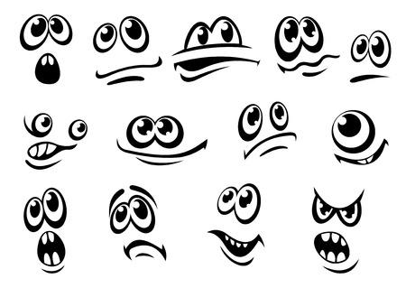 gestos de la cara: Diferentes expresiones faciales en blanco y negro lindo de cada uno con los ojos y la boca, bosquejo del Doodle