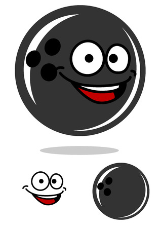Cartoon bowling ball character with a happy smile hovering over a shadow with a second plain variation and smile element, isolated on white