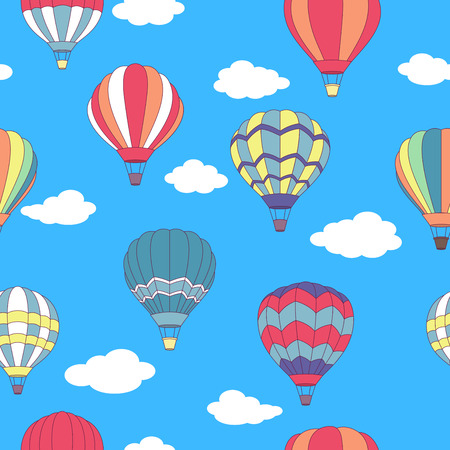 Seamless pattern of flying hot air balloons with different patterns on their envelopes in a blue sky with fluffy white clouds in square format, vector illustration Vector