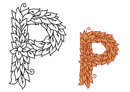 foliate: Uppercase letter P in a foliate font with leaves and a flower for eco, bio or organic themed concepts in black and white and a brown variant, vector illustration isolated on white Illustration