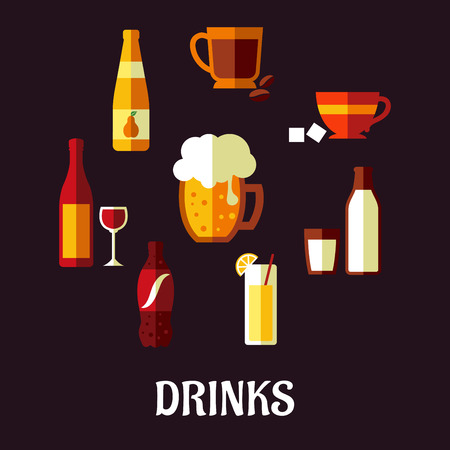 whiskey glass: Drinks and beverages flat icons showing silhouettes of a wine bottle and glass, beer, coffee, tea, milk bottle and glass, orange juice and a soft drink soda on a black background, vector illustration