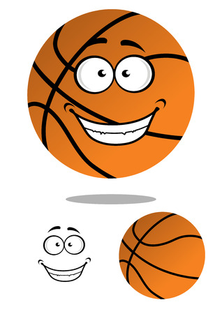 professional basketball league: Happy smiling cartoon basketball ball character hovering over a shadow plus a plain variation with separate smile element, vector illustration isolated on white