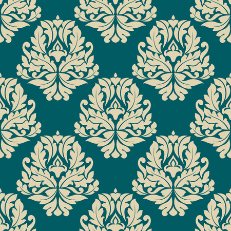 foliate: Dainty damask style vector seamless pattern with a repeat foliate arabesque beige motif in square format suitable for textiles, tiles and wallpaper