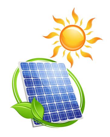 Nachhaltige Solarenergie-Konzept mit einem grünen Blatt umgibt ein Photovoltaik-Panel unter einem bunten heißen gelben Sonne, Vektor-Illustration isoliert auf weiß Vektorgrafik