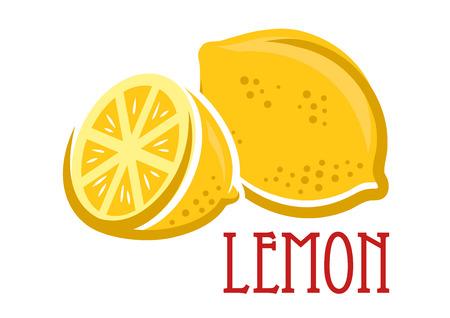 lemon juice: Lemon fruit symbol in cartoon sketch style, vector illustration