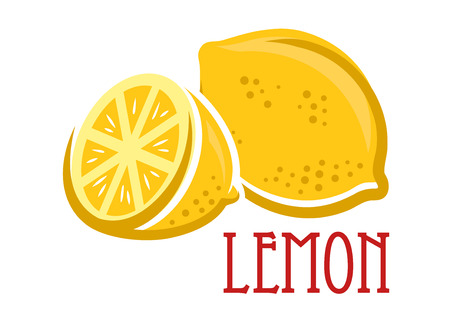 Lemon fruit symbol in cartoon sketch style, vector illustration