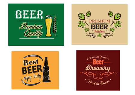 Colorful vector beer advertising posters with various text decorated with a glass, bottle and fresh hops, vector illustration Vector
