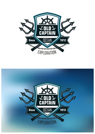 trident: Nautical badges for Ocean Exploration with the text Old Captain inside a shield with a ships wheel over crossed tridents with  Exploration  below on a white and a blue background