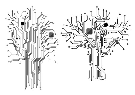 Computer tree with chip and motherboard elements, vector concept design Vectores