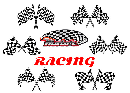 Heraldic vector black and white checkered racing flags showing crossed flags waving in the wind